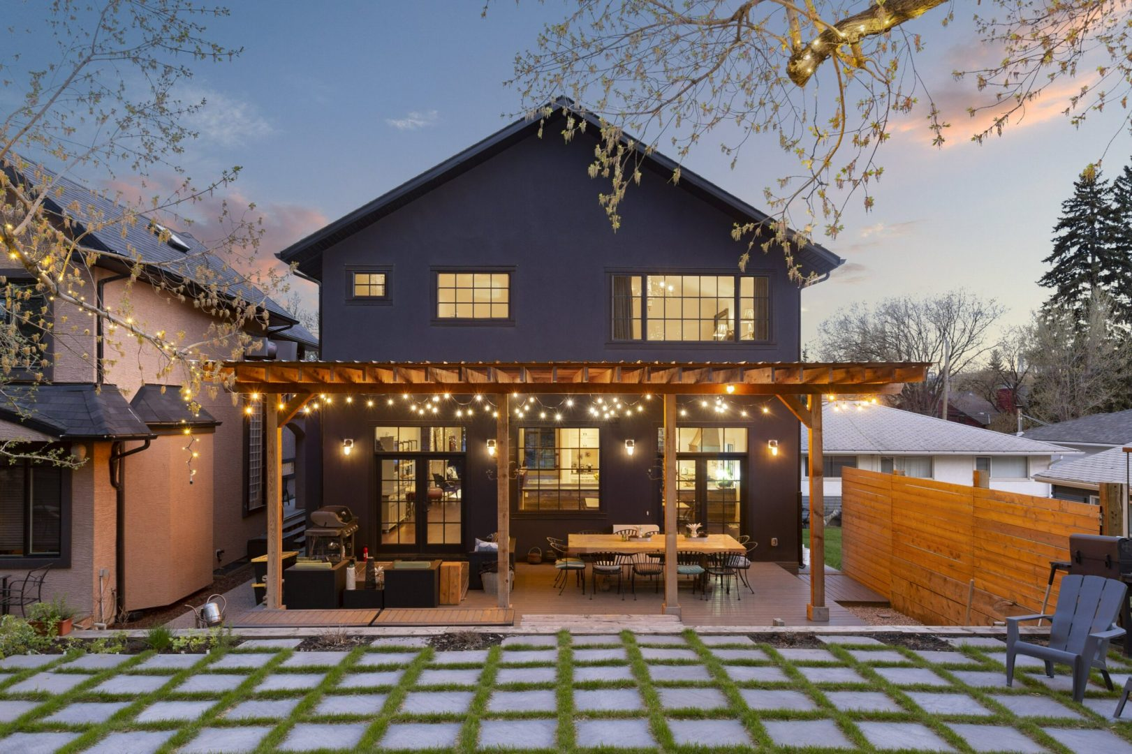 Real Estate Photography. A premium exterior photo of a home backyard photographed by Ryan Haggel from Calgary Premium Real Estate Photography.